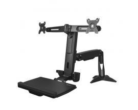StarTech.com Brazo para 2 Monitores de hasta 24 Pulgadas - Brazo de Soporte VESA para dos Pantallas de Pie y Sentado de Altura A