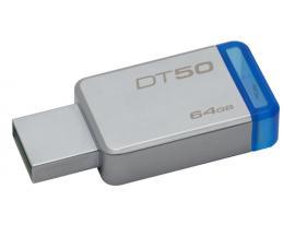 Kingston Technology DataTraveler 50 64GB unidad flash USB USB tipo A 3.0 (3.1 Gen 1) Azul, Plata - Imagen 1