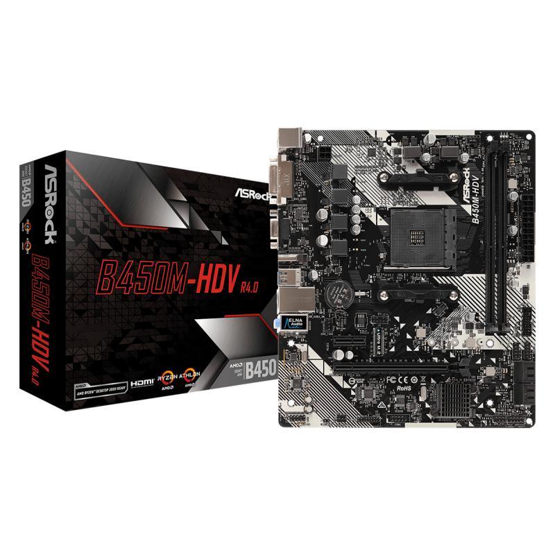 B450M-HDV R4.0 placa base Zócalo AM4 Micro ATX AMD B450 - Imagen 1