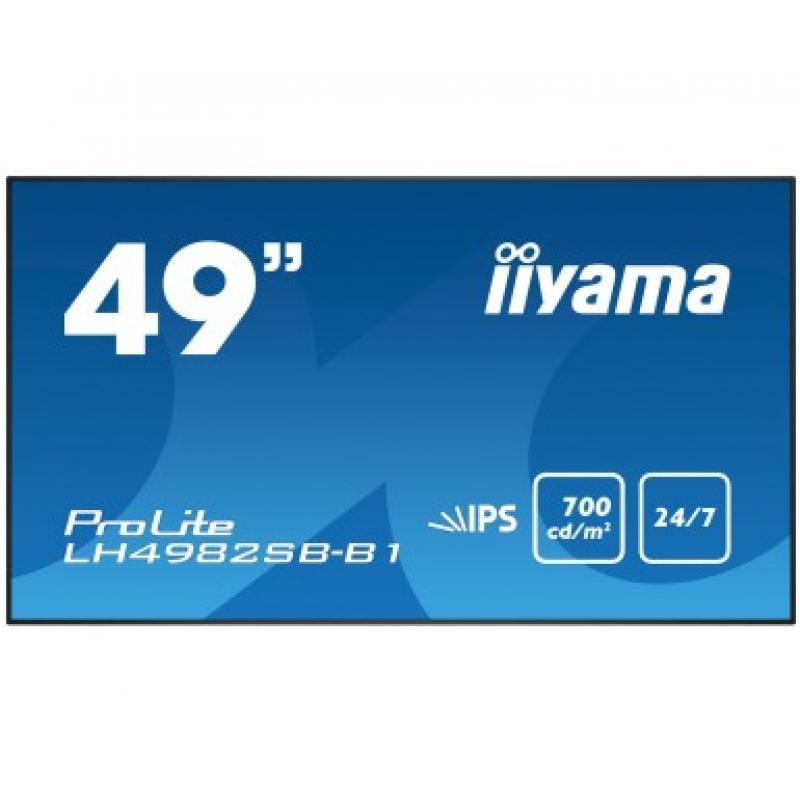 "iiyama LH4982SB-B1 pantalla de señalización 124,5 cm (49"") LED Full HD Negro - Imagen 1"
