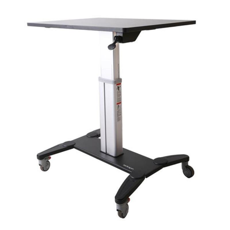 StarTech.com Estación de Trabajo Móvil de Pie y Sentado con Superficie de 80cm - de Altura Ajustable - Escritorio Móvil - Imagen