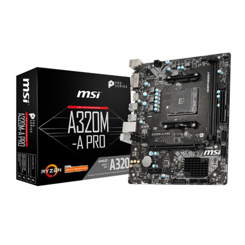 MSI A320M-A PRO placa base Zócalo AM4 Micro ATX AMD A320 - Imagen 1