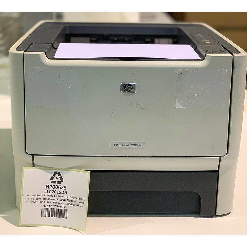 HP LaserJet P2015DNTamaño de papel A4 · Dúplex · Blanco y negro 27ppm · Resolución 1200x1200ppp · Memoria RAM 32Mb. · USB, R