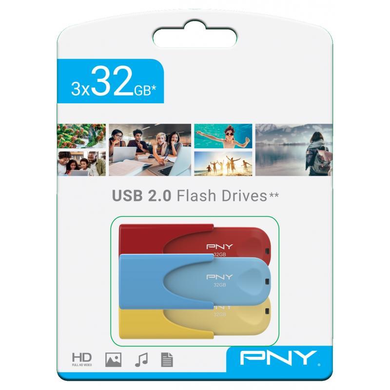 PNY TRIPLE PACK 3x32GB USB2.0 LIMITED EDITION (FD32GATT4COLRBYX3-EF) - Imagen 1