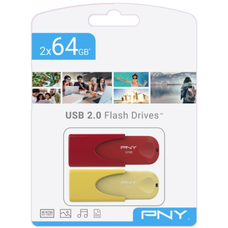 PNY TWIN PACK 2x64GB USB2.0 LIMITED EDITION (FD64GATT4COLRYX2-EF) - Imagen 1