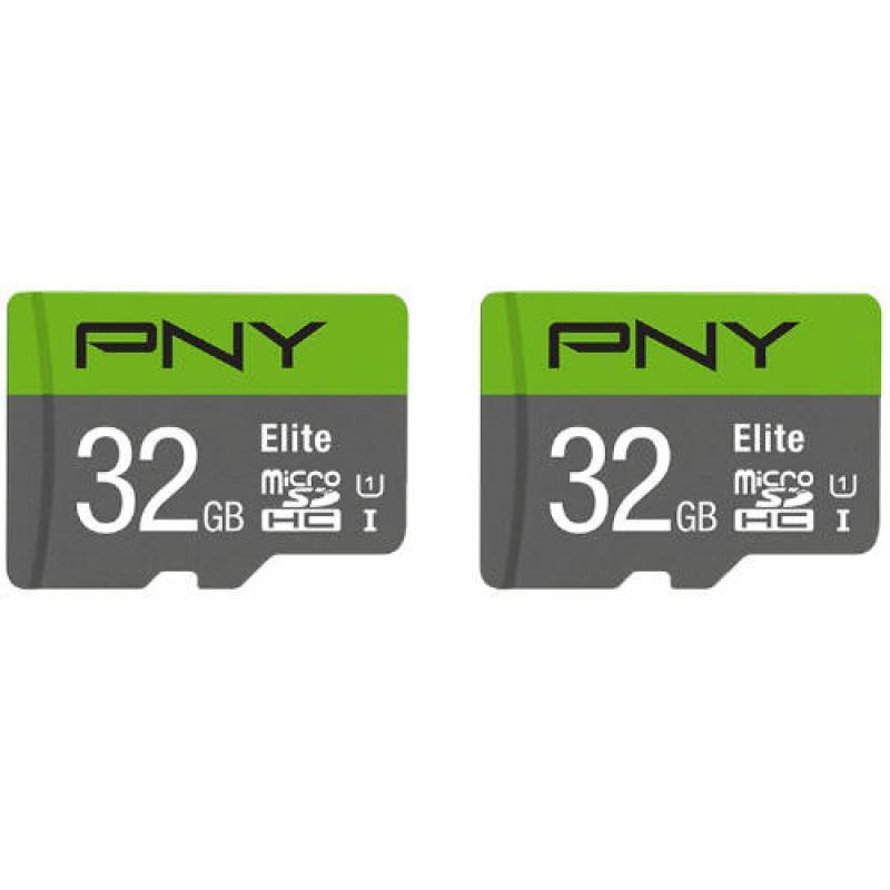 PNY MICROSD PACK 2 x 32GB ELITE 100MB/S CL10/UHS-I/U1 (P-SDU32X2U185EL-GE) - Imagen 1