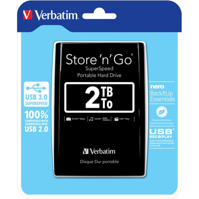 Verbatim Store 'n' Go disco duro externo 2048 GB Negro - Imagen 1
