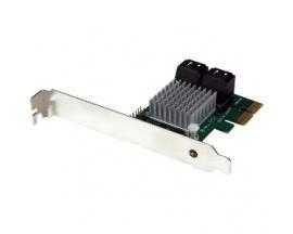 StarTech.com Tarjeta Adaptadora Controladora PCI Express PCI-E SATA 3 III 6Gbps RAID 4 Puertos con HyperDuo - Compatibilidad con