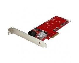 StarTech.com Tarjeta PCI Express Controladora de 2x SSD NGFF M.2 y 2x Puertos SATA III - Compatibilidad con RAID - 0, 1, 10, 1+0