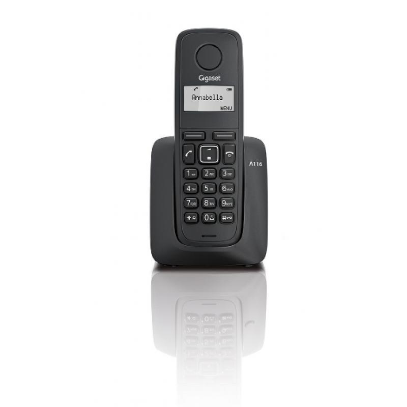 A116 Teléfono DECT Negro Identificador de llamadas - Imagen 1