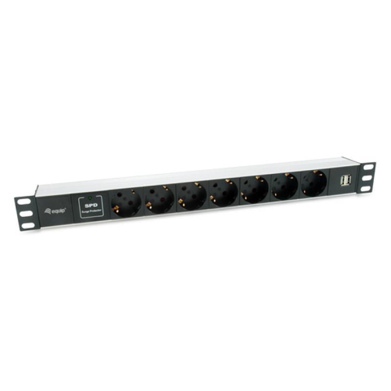 Equip 333315 unidad de distribución de energía (PDU) 1U Negro, Plata 7 salidas AC - Imagen 1