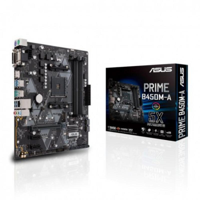 PLACA ASUS PRIME B450M-A II,AMD,AM4,B450,4DDR4,64GB,VGA+DVI+HDMI,GBLAN,4SATA3,1XM.2,6USB3.1,MATX - Imagen 1