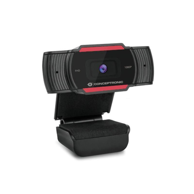Conceptronic AMDIS 1080P Full HD Webcam with Microphone cámara web 1920 x 1080 Pixeles USB 2.0 Negro, Rojo - Imagen 1