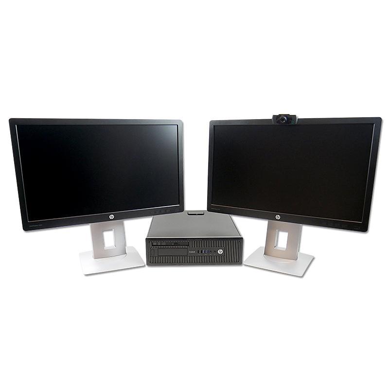 HP 600 G1 SFF i5 + 2xTFT 22''Intel Core i5 4590T 2.5 GHz. · 8 Gb. DDR3 RAM · 500 GB. SATA · Windows 10 Pro · 2 x Monitor LED