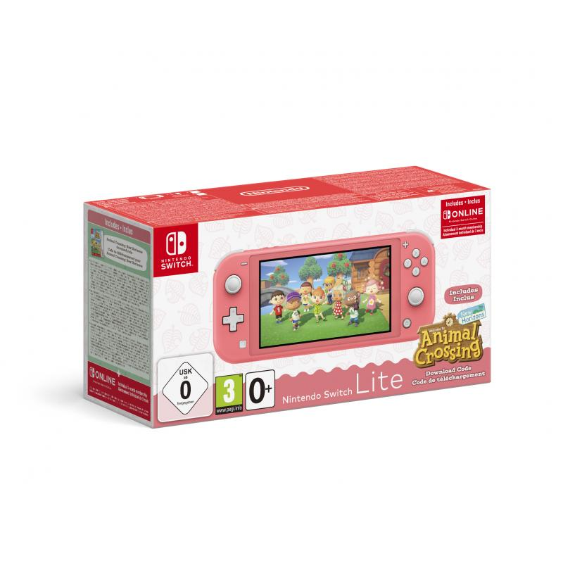 """Switch Lite (Coral) Animal Crossing: New Horizons Pack + NSO 3 months (Limited) videoconsola portátil 14 cm (5.5"""") Pantalla táct"""