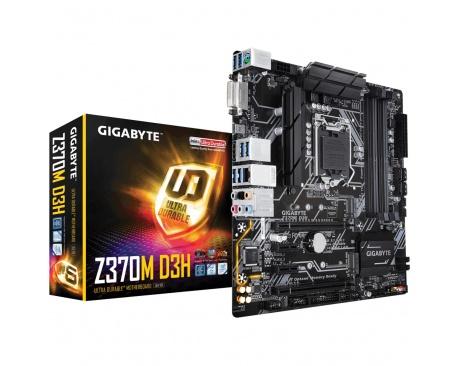 Placa base gigabyte intel z370m d3h lga1151 ddr4x4 64gb hdmi u-atx - Imagen 1