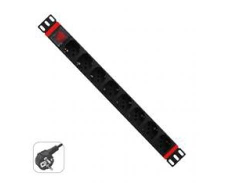 Regleta rack wp 1u 8 enchufes schuko con interruptor - Imagen 1