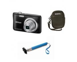 Camara nikon a100 negra 20.1 meg sensor ccd /5x /bateria/video hd/funda/palo selfie