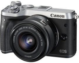 Camara digital reflex canon eos m6 ef-m15-45mm is stm cmos/ 24.2mp/ digic 7/ full hd/ wifi/ nfc/ bluetooth/ plata - Imagen 1