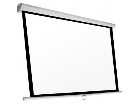 Pantalla manual videoproyector pared y techo phoenix 135´´ ratio 1:1 /16:9 / 4:3 2.4m x 2.4m posicion ajustable / carcasa blanc