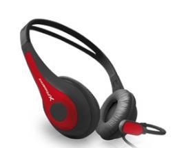 Auriculares con microfono phoenix free talk ergonomicos color rojo