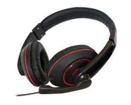 Auriculares con microfono phoenix talk and play tipo gaming negro y rojo