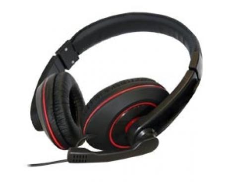 Auriculares con microfono phoenix talk and play tipo gaming negro y rojo - Imagen 1