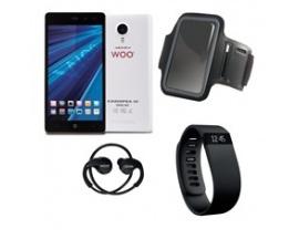 """Telefono movil smartphone woo casiopea 3 blanco 5"""" + pulsera de actividad + brazalete impermeable + auriculares deportivos+powe"""