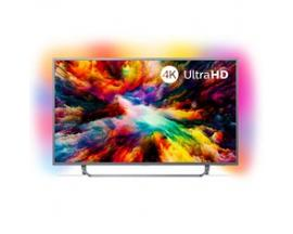 "Tv philips 65"" led 4k uhd/ 65pus7303 (2018)/ hdr plus / ambilight x3/ quad core/ ultraplano/ smart tv/ 4 hdmi/ 2 usb/ dvb-t/t2/t"