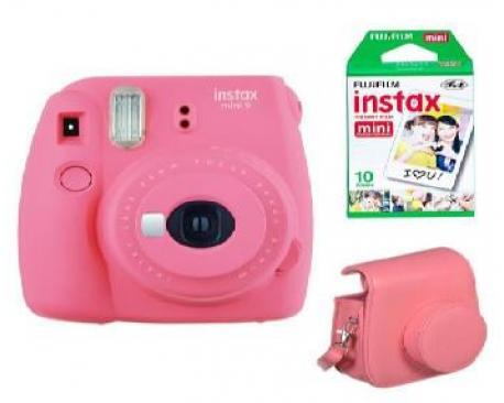 Kit camara fujifilm instax mini 9 rosa + funda+carga - Imagen 1