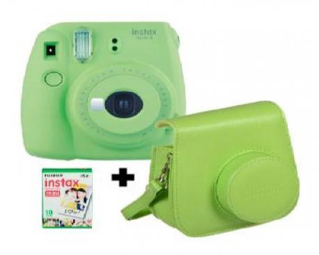 Kit camara fujifilm instax mini 9 verde + funda+carga - Imagen 1