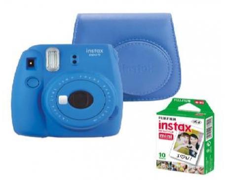 Kit camara fujifilm instax mini 9 azul +funda+carga - Imagen 1