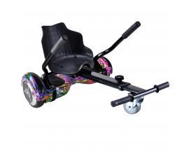 "Kit asiento kart + hoverboard skateflash k9 colorful rueda 6.5"" bateria 4400mah motor 500w"