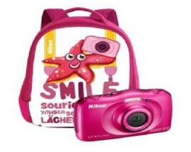 "Camara nikon w100 rosa + mochila /sumergible/13.3mp/pantalla 2.7""/zoom 3x/vr/wifi/full hd/bt/snapbridge - Imagen 1"