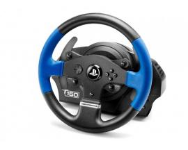 T150 Force Feedback Volante + Pedales PC, PlayStation 4, Playstation 3 Negro, Azul - Imagen 1